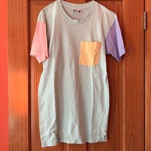 American Apparel pastel color block tshirt